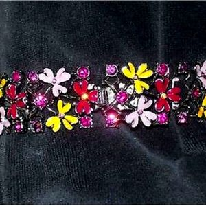 Vintage Ben Amun Floral & Rhinestone Bracelet